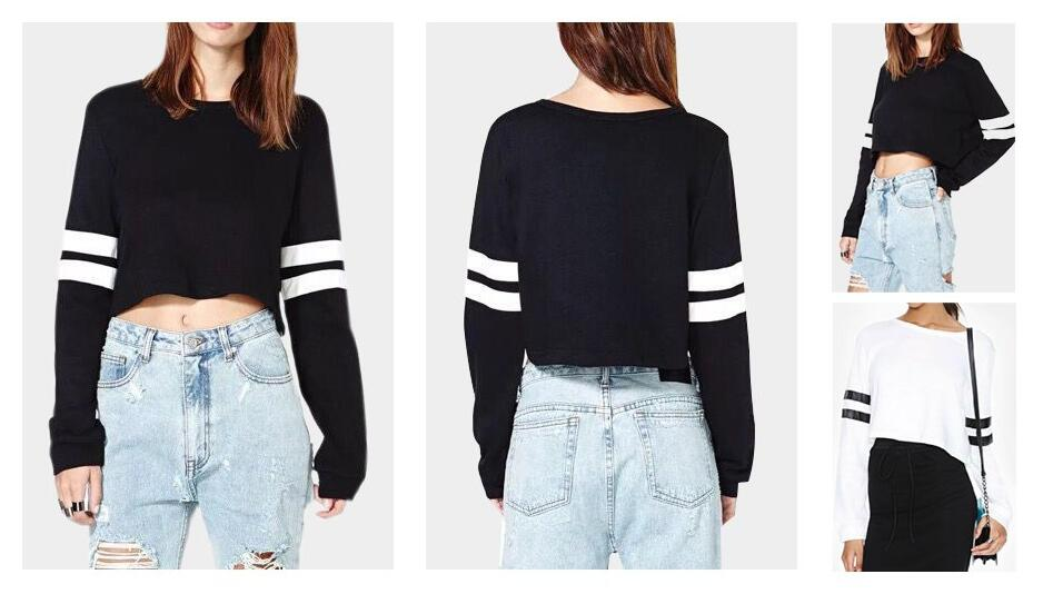 94bbc8957f7 Joeoy Women s Casual Striped Long Sleeve Crop Top Sweatshirt ...
