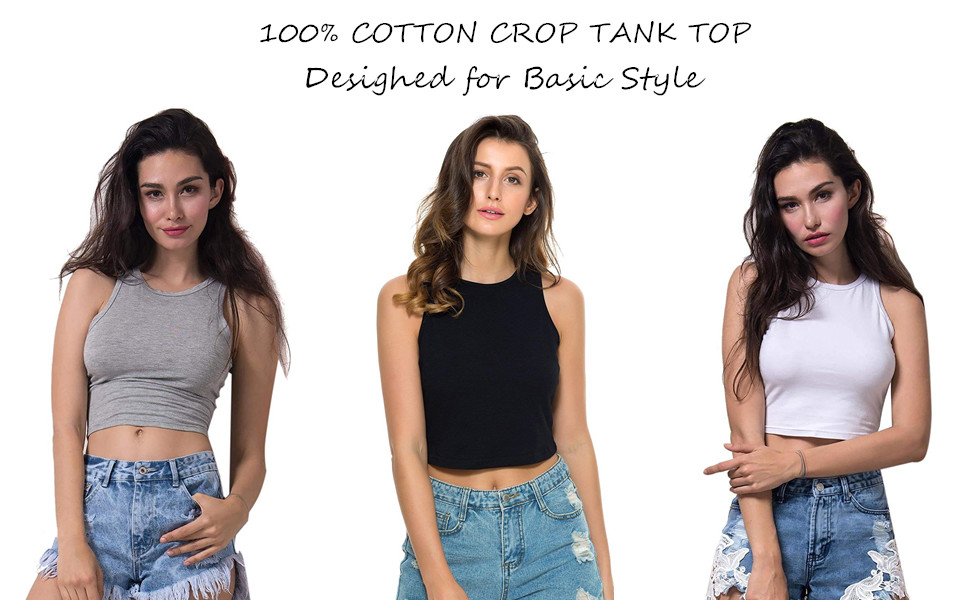 29fe33cdea This crop tank top is a must-have in every closet. Pair it with anything  and everything for a casual yet stylish look; Sleeveless ...