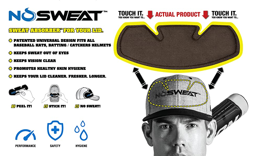 c2b1c2499cdaa No Sweat Baseball Hat   Helmet Liner   Sweat Absorber - Prevent STAINS    Dripping Sweat. Gear up like the pros!