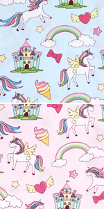 Cute Unicorns and Castles 2 Packs (Blue and Pink)