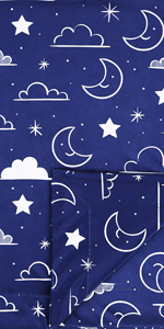 """Minky Baby Blanket 30"""" x 40"""" Soft Plush Double Layer Navy Blue, Stars and Clouds"""