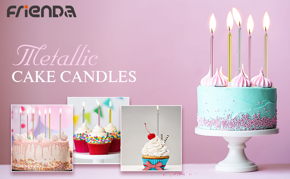 Amazon Frienda Metallic Birthday Cake Candles In Holders Long