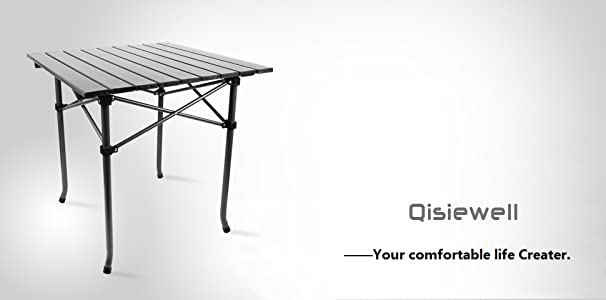 Qisiewell camping table aluminum outdoor folding beach table compact lightweight - Small lightweight folding table ...