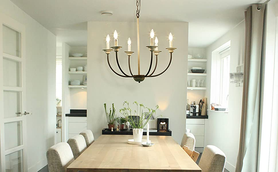 LOG BARN 6 Farmhouse Chandelier, Kitchen Island Pendant Antique White and  Rusty Metal Finish, 26\