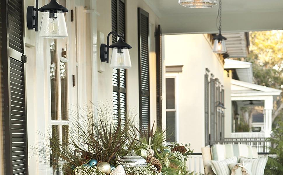 CGC Porche de luz de pared de linterna de coche de vidrio biselado negro interior al aire libre