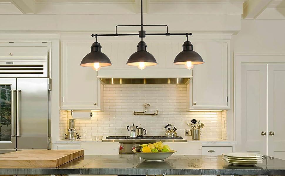 Log Barn Pendant Lighting for Kitchen Island, Black ...