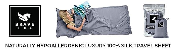 Brave Era Hypoallergenic 100% Silk Travel Sheet. Travel essential for comfort and adventure lovers