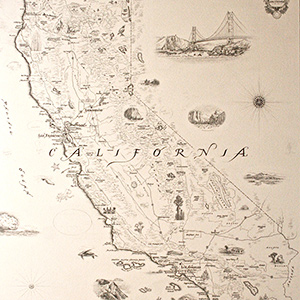 Amazoncom California Map Wall Art Poster Authentic Hand Drawn