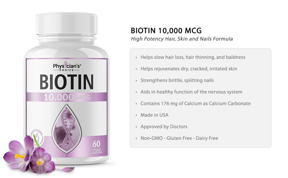 Pure Biotin 10,000 MCG Veggie Capsules For Hair, Skin, & Nails