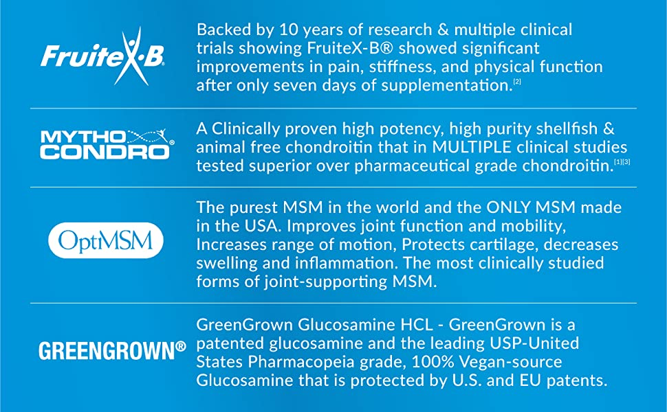 glucosamine chondroitin msm reduce inflammation flexibility cartilage tissue repair improve mobility