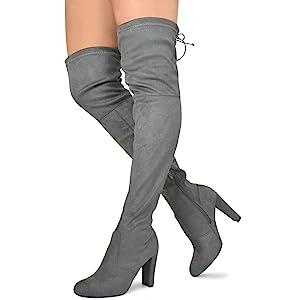943dfdbf1eb Wild Diva Women's Over The Knee Boot - Sexy Over The Knee High Pullon Boot  - Trendy Low Block Heel Shoe - Comfortable Boot