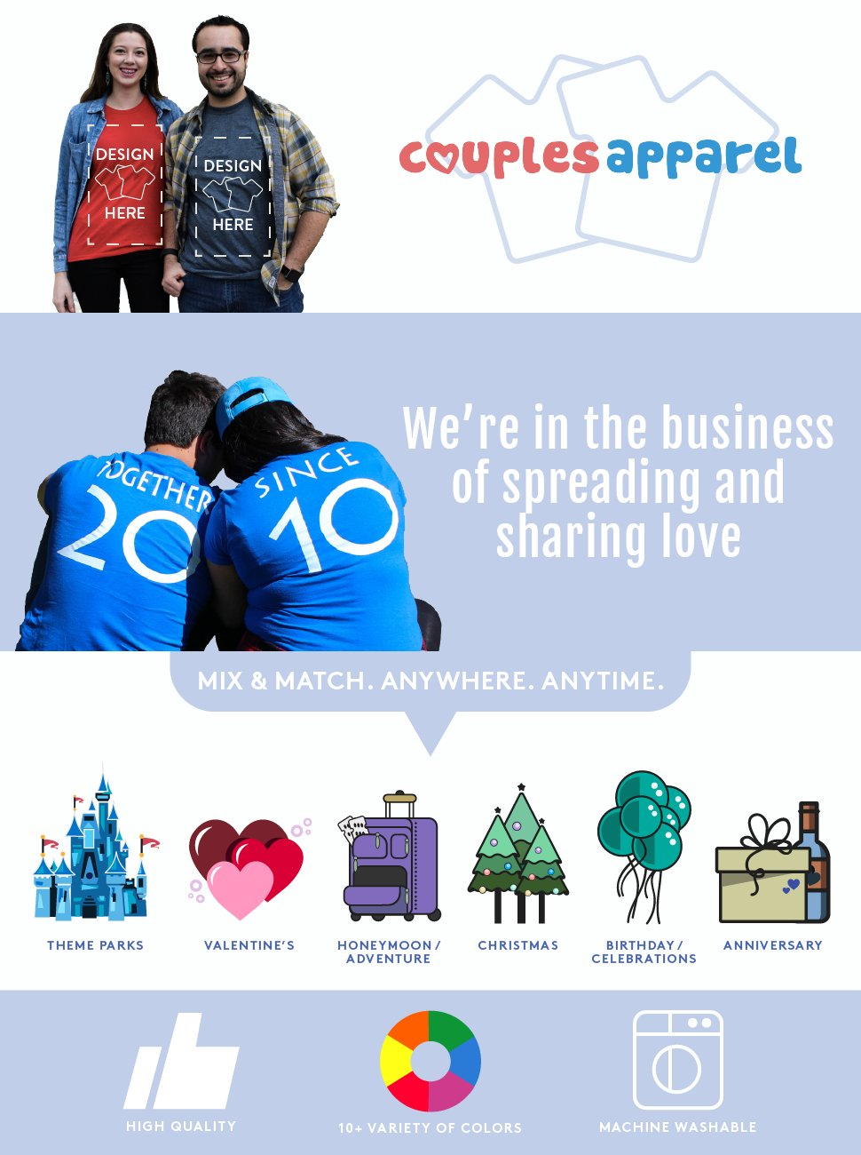 Couples Apparels custom matching shirts take relationships to the next level