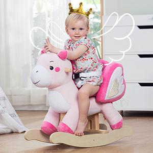Amazon.com: Caballo de balancín de madera, para niños, de ...