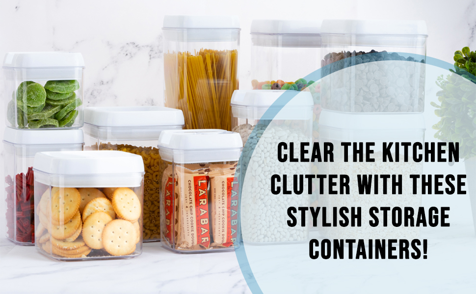 Food storage containers comes in a set of 10 and are available in small, medium and large sizes