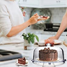 Cake stand with cover looks like real glass, but is much more durable than glass