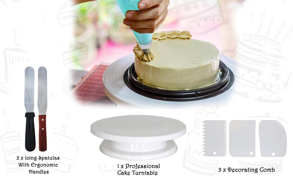 Amazon Com Cake Turntable With 2 Icing Spatula And 3 Icing Smoother 11 Inch Rotating Cake Stand Cake Decorating Supplies Kit By Homeries Cake Stands
