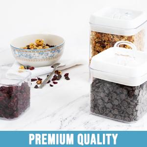 Kitchen storage container feature a modular design which allows convenient storage