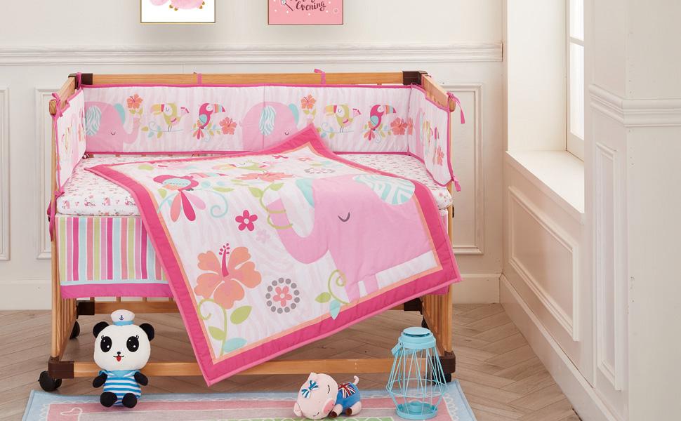 Step by Step 3 Piece Best Friends Crib Bedding Nursery Set Elephant Birds NEW