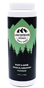 lumi outdoors natural shoe deodorizer and foot powder odor eliminator