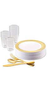 Plastic Disposable dinnerware buffet party package set