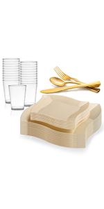 dinnerware set plastic disposable