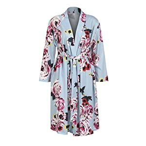 Women Floral Print Maternity Labor Delivery Robe Breastfeeding Nursing Nightgowns Gown in Hospital