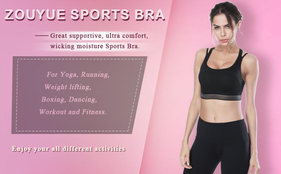 d2571d0b2b7 ZOUYUE Sports Bra Wireless Padded Bra for Gym Workout Activewear ...