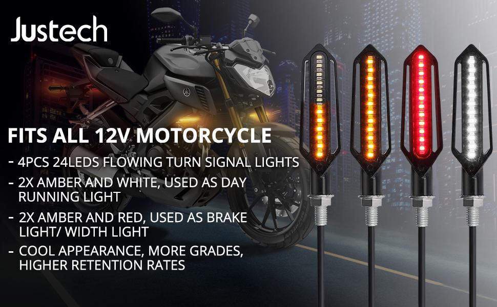 4x UNIVERSAL MOTORCYCLE MINI 14-LEDS TURN SIGNAL INDICATORS LIGHT AMBER LAMP