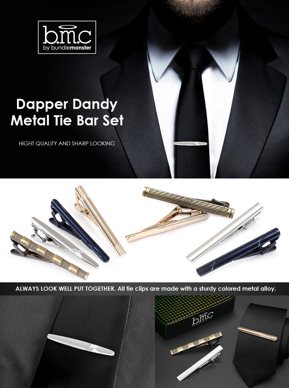 amazon com bmc mens metal tie clip bar clasps w silver gold