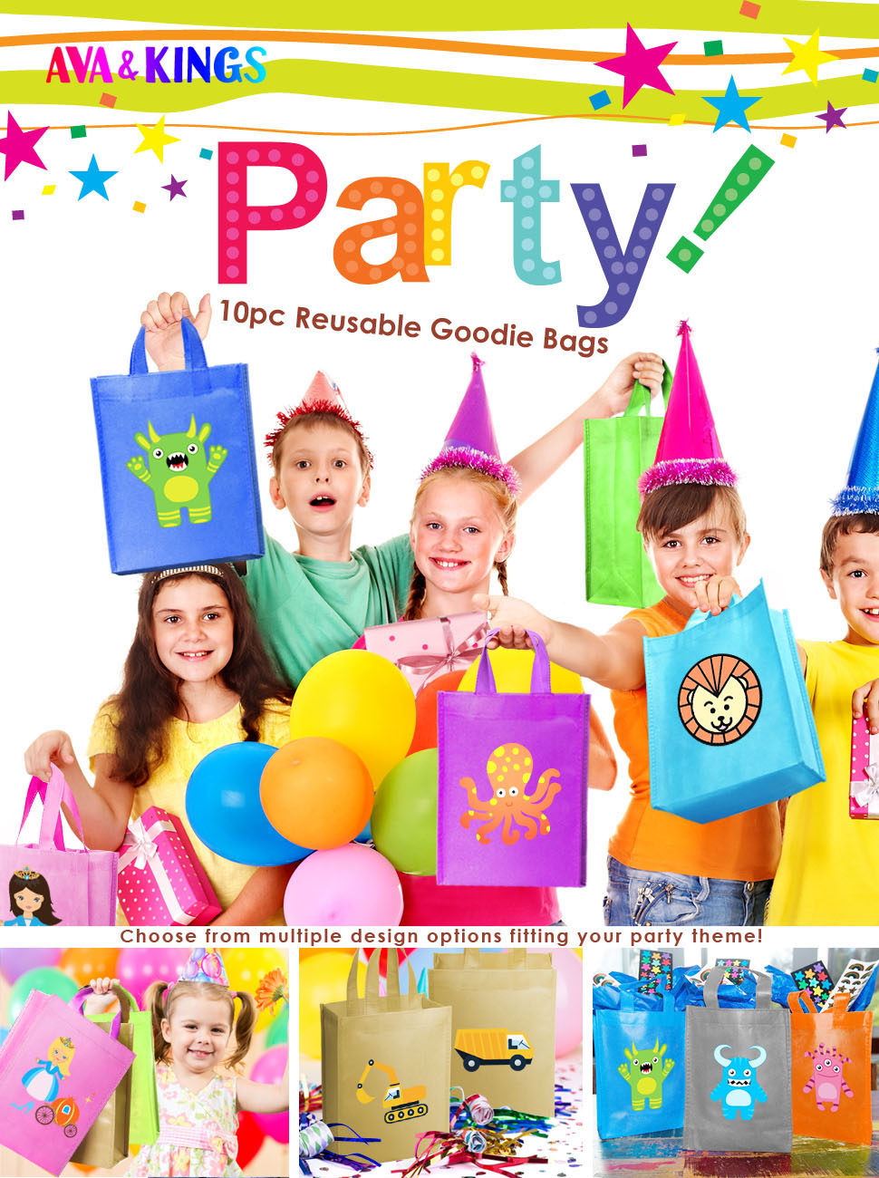 CASTLE PRINCESS PINK BIRTHDAY PARTY BAGS  RECYCLABLE LOOT TREAT FAVOUR GOODY BAG