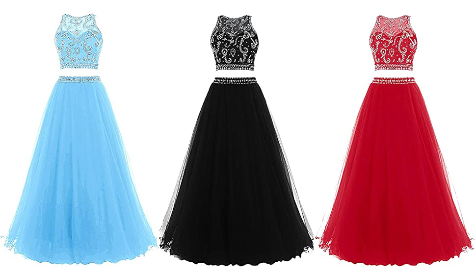 Still Waiting Womens 2 Piece Beaded Prom Dresses Long 2018 Tulle Beading Party Gowns Two Pieces XY0071