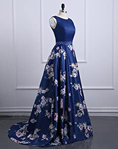 Still Waiting Womens Crystals Satin Prom Dresses Long Print Satin A Line Evening Gowns Formal C002