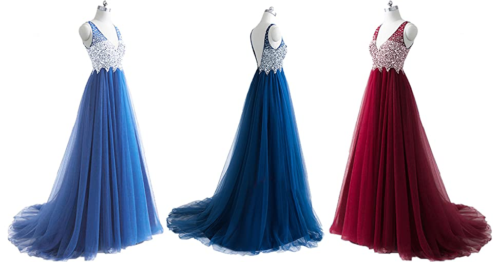 Still Waiting Womens Sparkly V Neck Prom Dresses Long Tulle Beaded Sequins Evening Gowns Formal C007