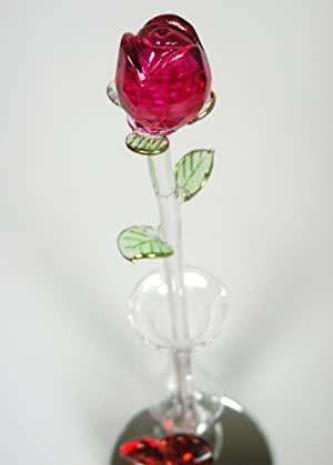 Amazon Roses Crystal Red Rose In Glass Vase Red Decorative