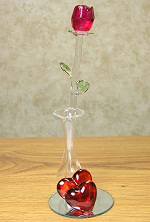 Amazon Com Roses Crystal Red Rose In Glass Vase Red
