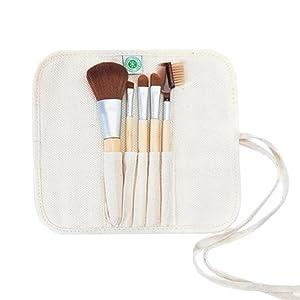 natural brush set, premium, synthetic, cruelty free, vegan, bamboo, no shed, travel, blending