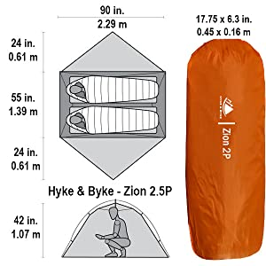 Zion 2.5 Backpacking Tent Dimensions