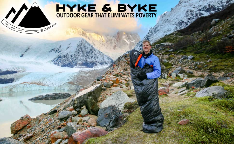 Hyke & Byke 650 Fill Power Down Sleeping Bag-Ultra Compact Down Filled 3 Season Men's and Women's