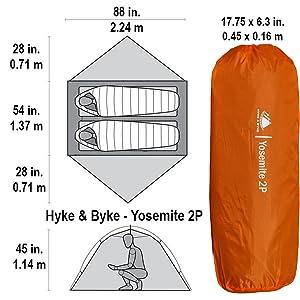 Yosemite 2P Dimensions