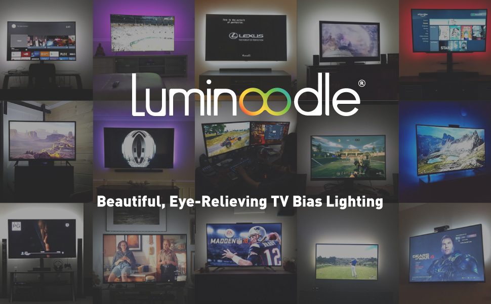 Luminoodle beautiful, eye-relieving TV Bias lighting and monitor backlight