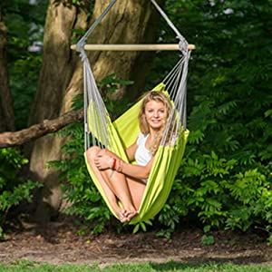 Amazon Com Byer Of Maine Panama Hanging Hammock Chair Indoors And Outdoors Recycled Cotton Fabric Kiwi 58 L X 39 W Holds Up To 240lbs Furniture Decor