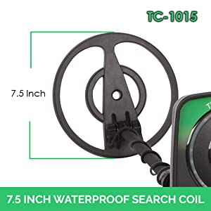 The Treasure Cove TC-1015 Fast Action Junior metal detector can easily detect a U.S. up to 7 inches and larger items up to 12 inches.