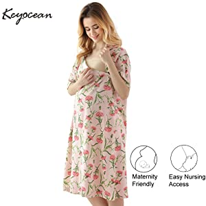 Women Maternity Soft Dress Nursing Baby Nightgown Breastfeeding Nightshirt Sleep