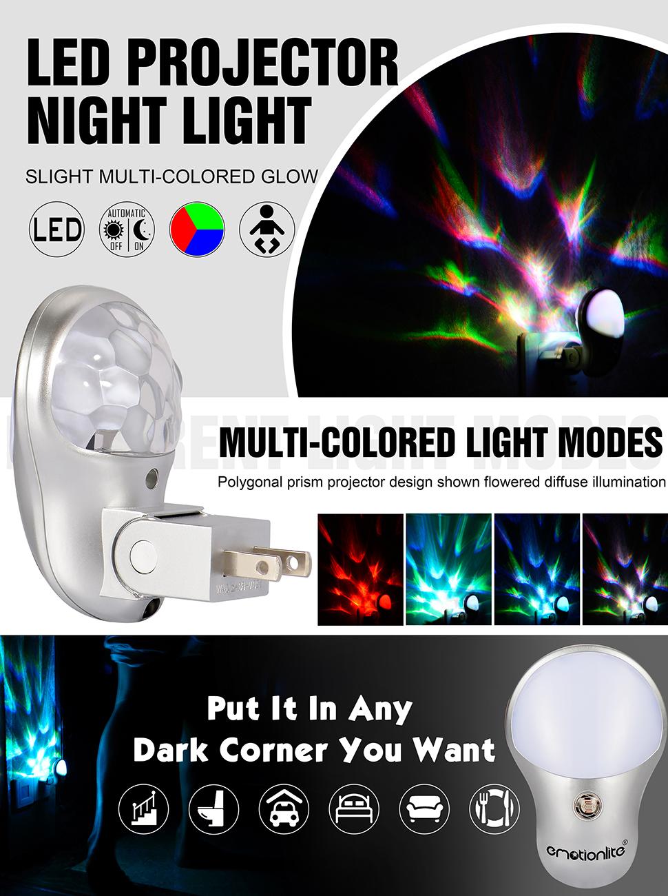 Plug in Night Light, Emotionlite LED Projector Nightlight, Dusk to ...