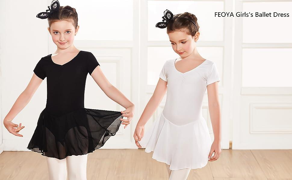 58c73688f86077 FEOYA Girls Ballet Dress Gymnastics Skirted Leotard Ballerina Dancewear