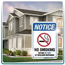 no smoking aluminum metal signs