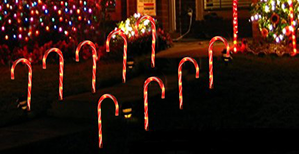 the candy cane light is 15 inch tall 20 inch interval space and pre lit with 5 tungsten bulbs per cane 7 feet long power cable and 20 inch interval space