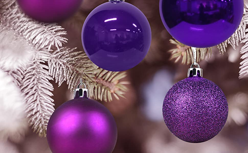 Christmas Balls Ornaments For Xmas Tree Shatterproof Christmas Tree Decorations Large Hanging Ball Purple 4 0