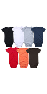 Unisex Solid Multicolor Baby Bodysuits 0-24 Months Packs