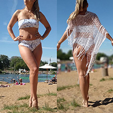 bandeau bikini marble print